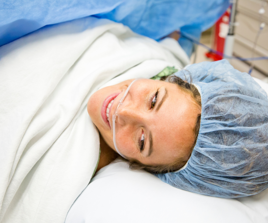 woman in c-section surgery