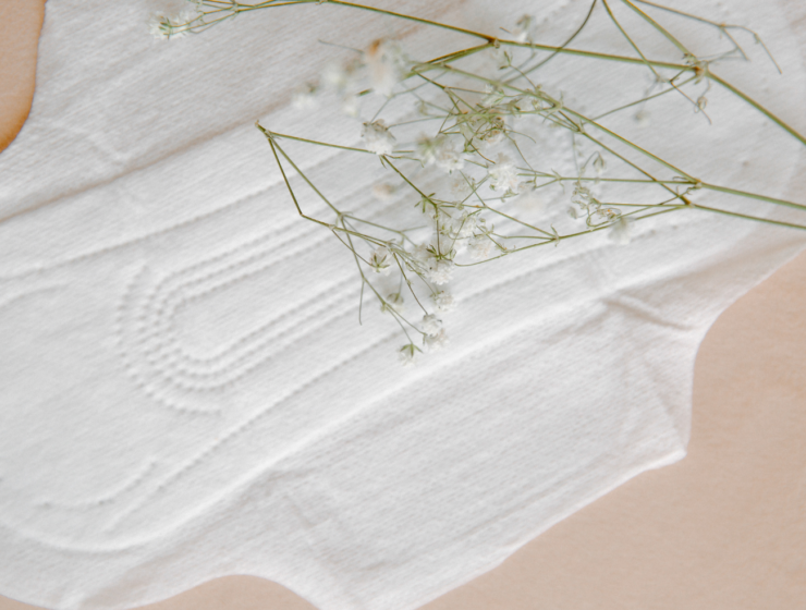 menstrual pad with flower on top