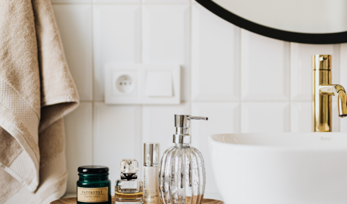 self-care products on bathroom vanity
