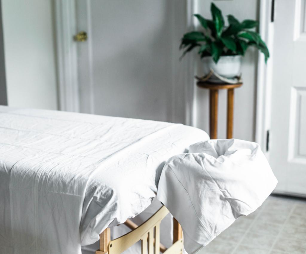 empty massage table