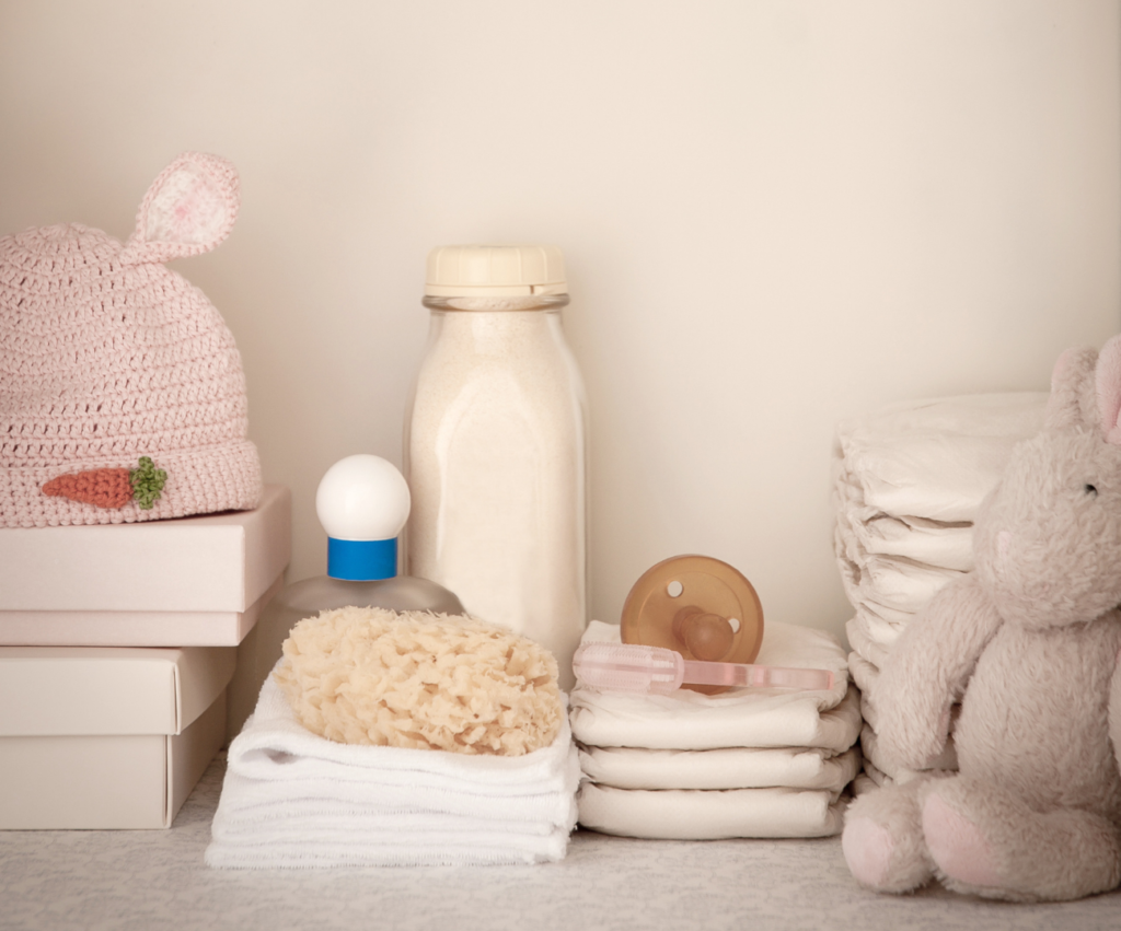 collection of newborn baby items