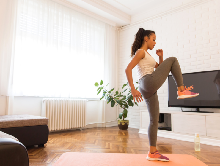 woman doing an at-home workout