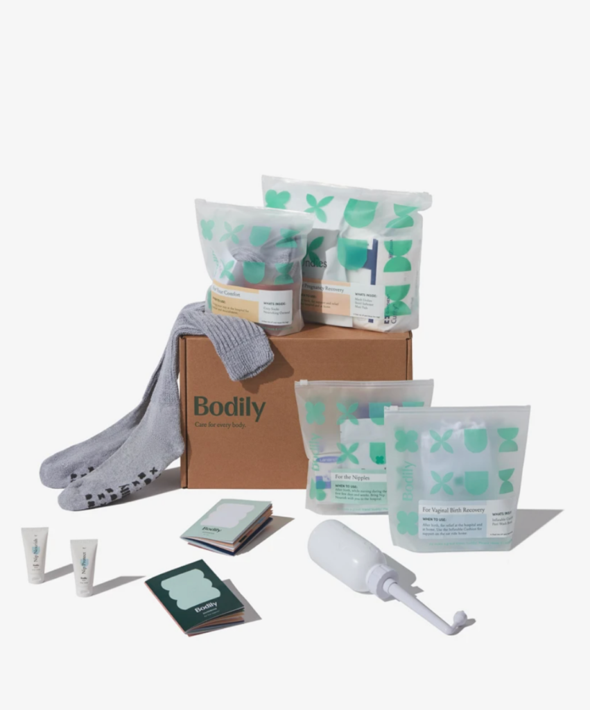 box of assorted postpartum recovery items from Bodily