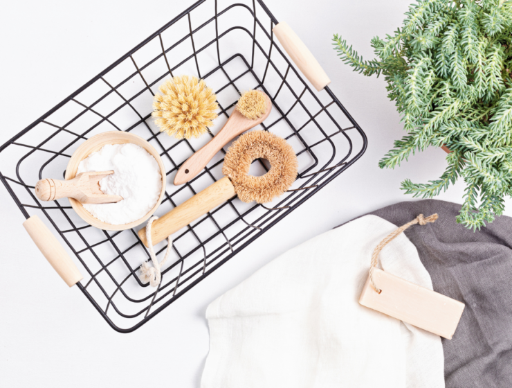 basket of non-toxic cleaning products