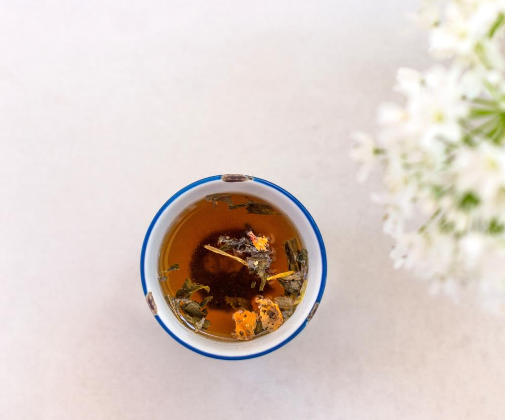a mug of third trimester pregnancy tea